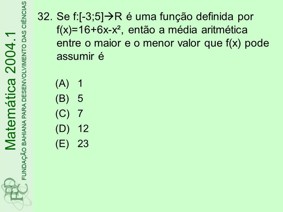 Se f:[-3;5]R é uma função definida por f(x)=16+6x-x², então a média aritmética entre o maior e o menor valor que f(x) pode assumir é